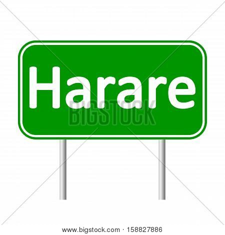 Harare road sign isolated on white background.