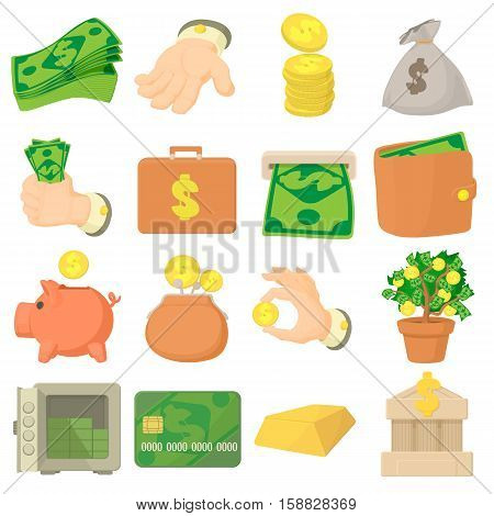 Kinds of money icons set. Cartoon illustration of 16 kinds of money vector icons for web