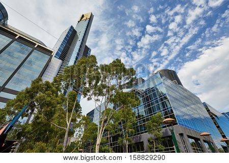 MELBOURNE, AUSTRALIA - MARCH 10, 2016: Eureka Tower and other modern buildings in Southbank, Melbourne. The skyscraper has the highest observation deck in the Southern Hemisphere