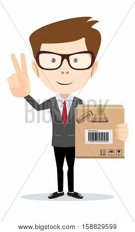 delivery service man with box shows sign of victory on his fingers. Stock vector illustration