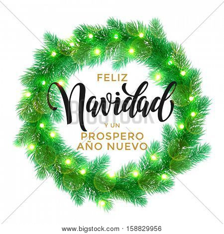 Spanish Christmas text Feliz Navidad gold glitter lettering. Decorative wreath of Christmas lights garland decoration. Merry Christmas bow door decoration design element with texture