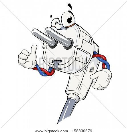 Electric power plug for connect electro device. Euro type. Cartoon character show OK. Energy element. Good switch. European Electricity. Isolated white background. Illustration