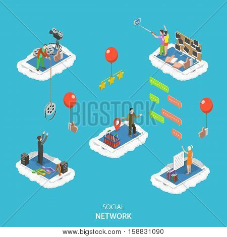 Social network isometric flat vector illustration. People are standing on their phones in the clouds and interact in different ways: push like , rate content, exchange by photo and video, chatting.