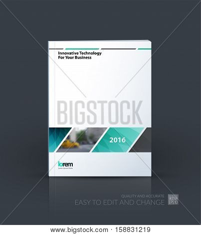 Business vector. Brochure template layout, cover design annual report, magazine, flyer in A4 with rectangular shapes, diagonal lines, parallelogram for IT, business, building. Abstract.