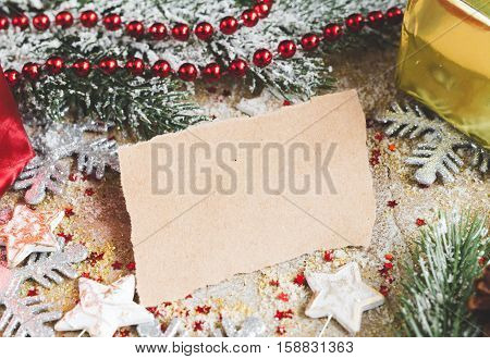 kraft paper and christmas tree decorations close up.