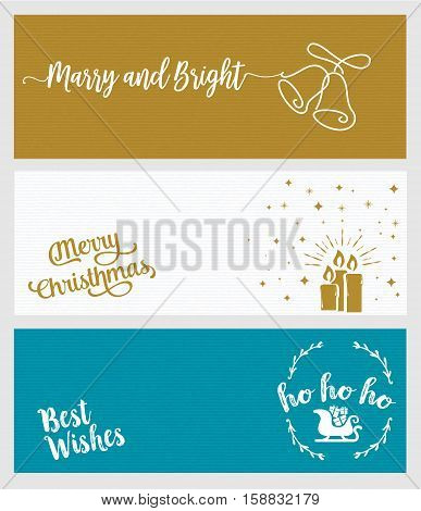 Set of Christmas and New Year social media banners. Hand drawn flat design vector illustrations for website and mobile banners, internet marketing, greeting cards and printed material design.