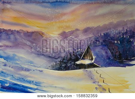 Winter scene.Cottage covered with snow,mountains at sunset in background.Picture created with watercolors.