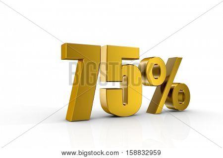 3d illustration 75%