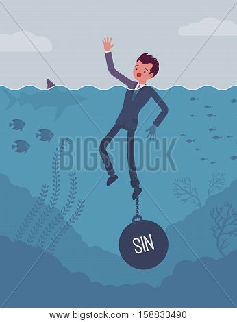 Businessman drowning chained with a weight Sin, being weak, unable to verbalize the truth and confess, having no willpower, feeling guilty. Cartoon flat-style concept illustration
