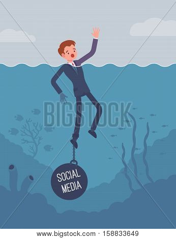 Businessman drowning chained with a weight Social Media, lost in social networks, addicted, unable to resist using, social bullying, being offended. Cartoon flat-style concept illustration