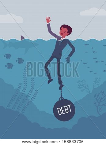 Businessman drowning chained with a weight Debt, having money problems, unable to pay bills, poor family debt management plan, increased monthly payments. Cartoon flat-style concept illustration