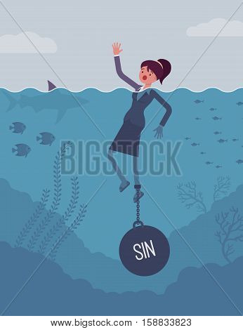 Businesswoman drowning chained with a weight Sin, being weak, unable to verbalize the truth and confess, having no willpower, feeling guilty. Cartoon flat-style concept illustration