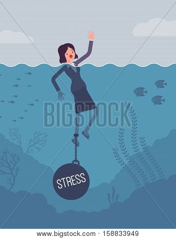 Businesswoman drowning chained with a weight Stress, suffering with alert and endless headaches, poor family relationships, overworked at the office. Cartoon flat-style concept illustration