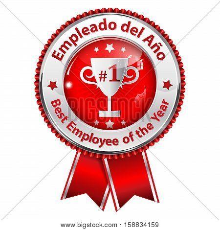 Employee of the Year (Spanish language: Empleado del Ano) - metallic red award ribbon