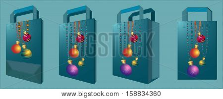Vector bag with Christmas balls. Front view perspective view folded unfolding.