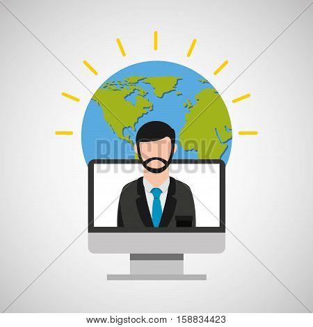 teacher ducation online global vector illustration eps 10