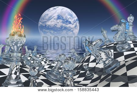 Surreal chess board with figures. Planet rising above ocean.   3D Render  Some elements provided courtesy of NASA