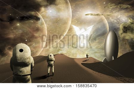 Astronauts on alien planet and their rocket ship  greeted by angelic glowing winged figure. Some elements provided courtesy of NASA   3D Render