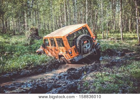 Leningrad Oblast, the Karelian isthmus, Russia, may 30, 2014. check out off-road's Jeep Wrangler club, the Jeep Wrangler is a compact four wheel drive off road and sport utility vehicle
