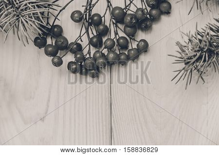 Christmas background.Tree branch frame with rowanberry.White wooden table.Black and white,toned