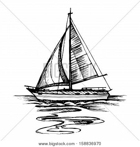 Sailing boat vector sketch isolated with reflection. Sea yacht floating on the water surface.