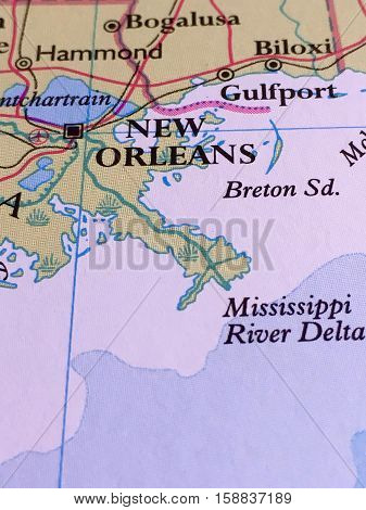 New Orleans and Mississippi River Delta on a Map