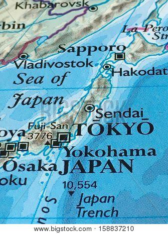 Tokyo, Yokohama and Osaka Japan and Surrounding Areas Map