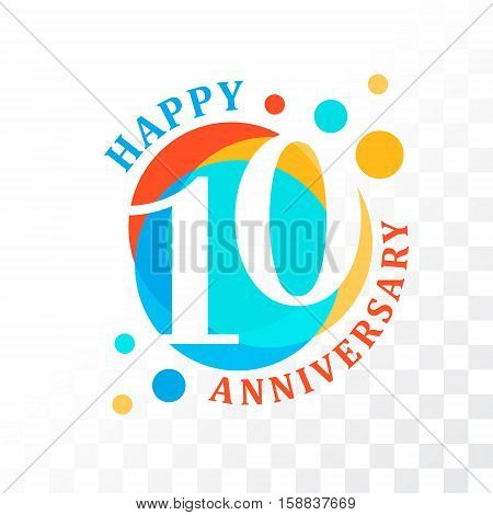 10th Anniversary emblem. Vector template for anniversary birthday and jubilee