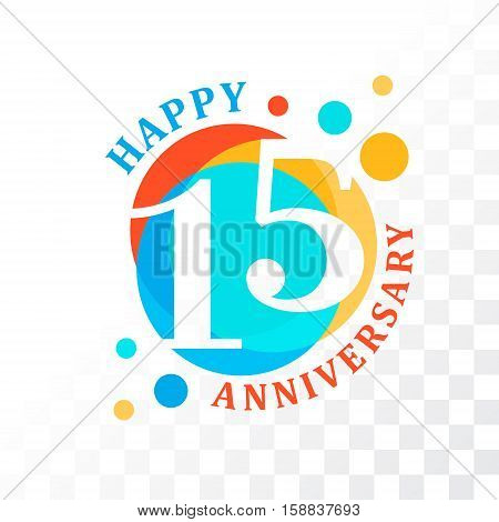 15th Anniversary emblem. Vector template for anniversary birthday and jubilee