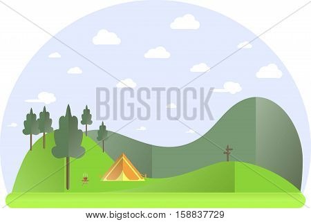 Landscape with green hills, trees, orange tent, travel conception flat design stock vector illustration