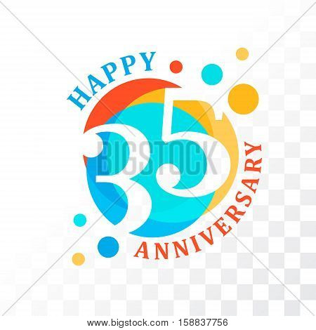 35th Anniversary emblem. Vector template for anniversary birthday and jubilee