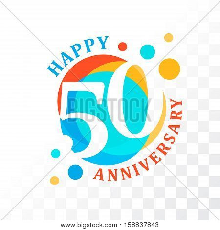 50th Anniversary emblem. Vector template for anniversary birthday and jubilee