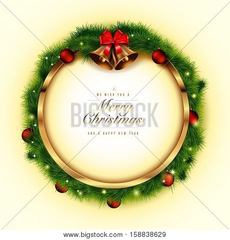 Golden Christmas frame with spruce, baubles, bells and bow. Vector illustration.
