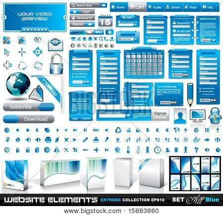 Web Elements EXTREME collection 2 All Blue: login forms, bars,button, 100 more icos, 8 business cards, software boxes and so on