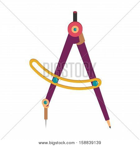 Drawing compass. Flat icon vector. Technical tool architect, engineer. Isolated colored compass