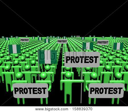 Crowd of people with protest signs and Nigerian flags 3d illustration