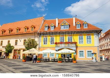 Sibiu, Romania - July 19, 2014: Old Town Square In The Historical Center Of Sibiu Was Built In The 1