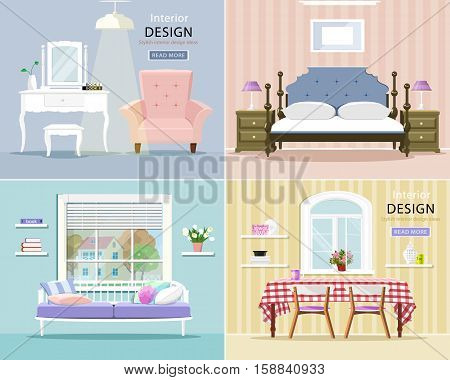 Modern room interiors set. Stylish graphic living room, bedroom and dining room. Flat style vector illustration.