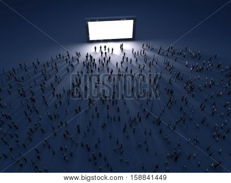 group of people looking at the screen at night, 3d illustration
