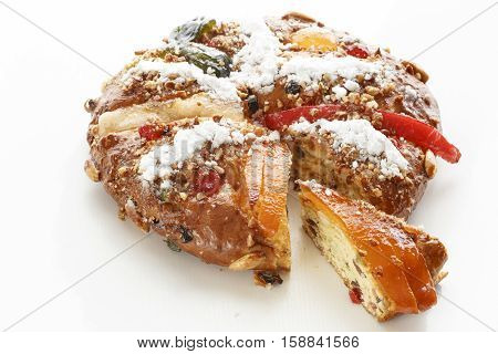 Bolo Rei is a traditional portuguese Christmas cake made with candied fruit.
