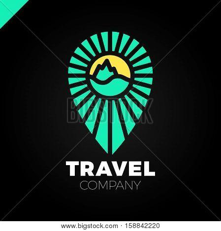 Line Travel Pin Logo. Sun, Sea, Mountain Logotype