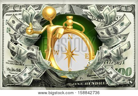 Money With The Original 3D Character Illustration And A Compass