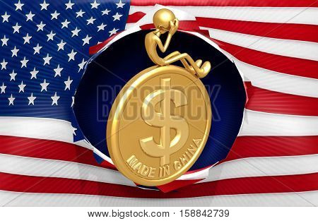 American Flag With The Original 3D Character Illustration On A Coin Made In China
