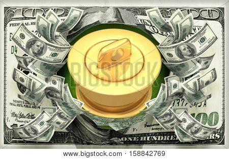Money Concept With Drain Stopper 3D Illustration