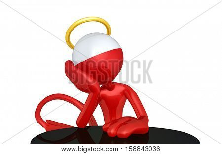 Devil Character With Angelic Thoughts 3D Illustration
