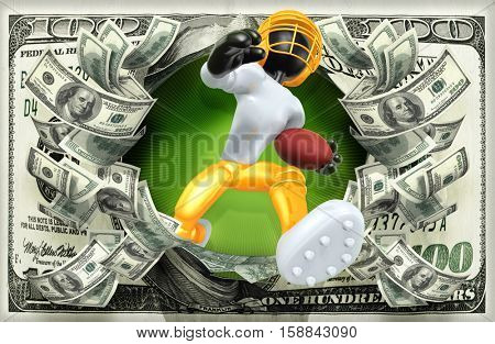 The Original 3D Character Illustration Football Player With Money