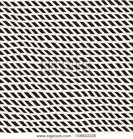 Wavy Hand Drawn Slanted Lines. Abstract Geometric Background Design. Vector Seamless Black and White Pattern.