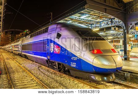 Paris, France - October 9, 2016: TGV Euroduplex trainset at Paris-Est railway station. Paris-Est station provides connections to Germany, Luxembourg, Russia and the East of France