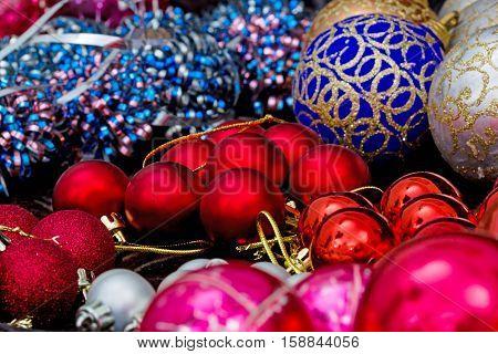 Christmas tree decorations preparing to decorating a Christmas tree