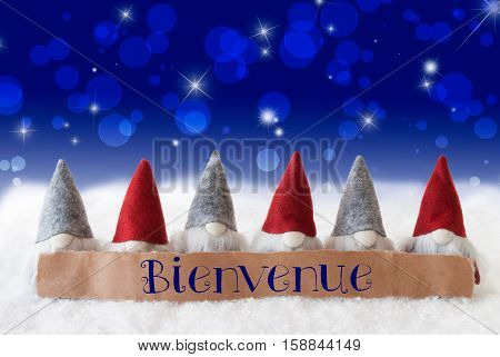 Label With French Text Bienvenue Means Welcome. Christmas Greeting Card With Gnomes. Sparkling Bokeh And Blue Background With Snow And Stars.